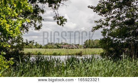 A rural view of the typical Dutch flat terrain with marshes and flood plains.