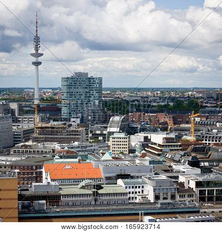 A view across the German city of Hamburg with the radio tower visible in the distance.
