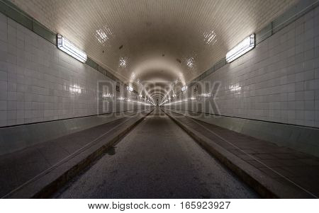 Elbe Tunnel, Hamburg, Germany. A view of the original 1911 Elbe Tunnel linking central Hamburg and the docks on the south side of the river Elbe.