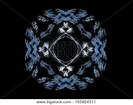 3D Rendering With Blue Abstract Fractal Pattern