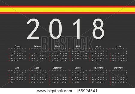 Spanish Black 2018 Year Vector Calendar