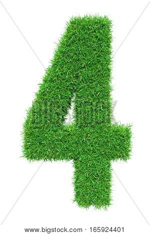 Green grass number 4, isolated on white background. 3D illustration