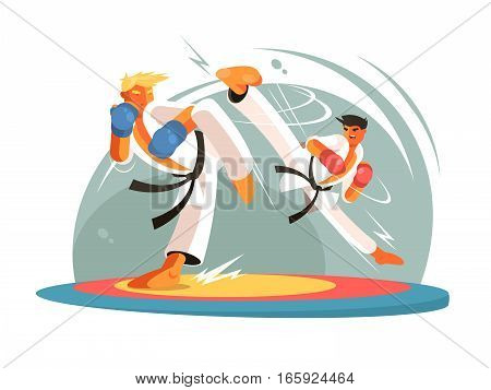 Guys karate sparring for training. Boy hits foot. Vector illustration