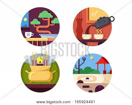 Zen buddhist icons set. Peace of mind and tranquility. Vector illustration. Pixel perfect icons size - 128 px