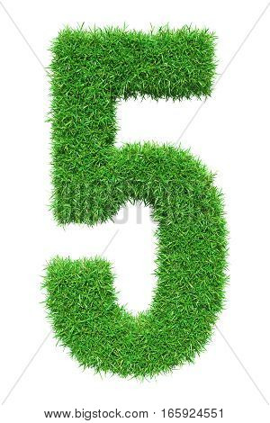 Green grass number 5, isolated on white background. 3D illustration