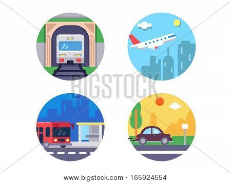 Transport icons set. Train and plane, car and bus. Vector illustration. Pixel perfect icons size - 128 px