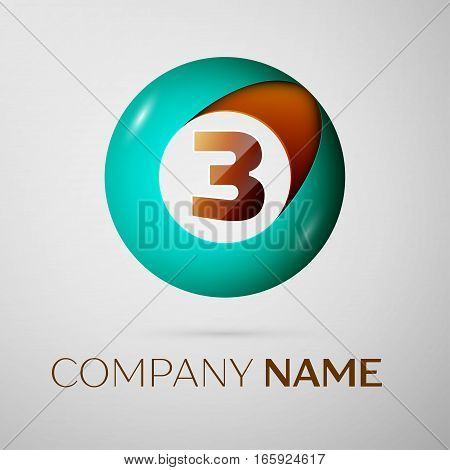 Number three vector logo symbol in the colorful circle on grey background. Vector template for your design