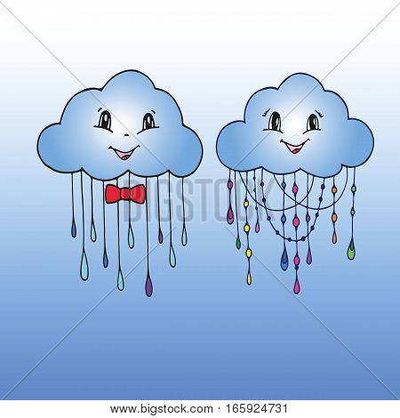 Doodle Hand Drawn Vector of Mr. and Mrs. Cloud. Abstract Cloud Background.