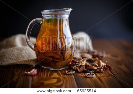 compote of dried fruits in a carafe on a table