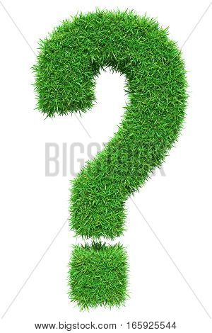 Green grass question mark, isolated on white background. 3D illustration