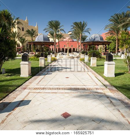 HURGHADA, EGYPT - NOVEMBER 17 2006: The main entrance to a large hotel resort complex near the Red Sea Egypt.