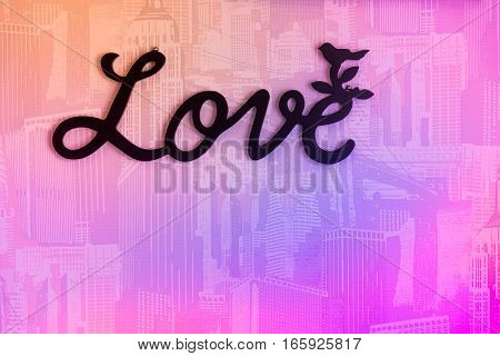 Valentine day background with word Love on wall background.