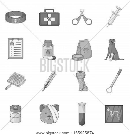 Veterinary clinic icons set in monochrome style isolated on white background
