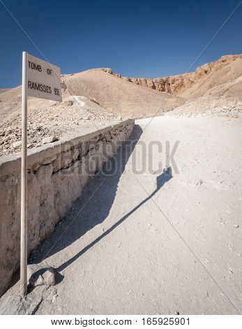 A signpost to the tomb of Ramesses VII in the Valley of the Kings Egypt.