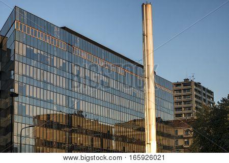 MILAN, ITALY - NOVEMBER 7, 2016:  Milan (Lombardy Italy): modern glass building along via Domodossola near Citylife (Tre Torri)