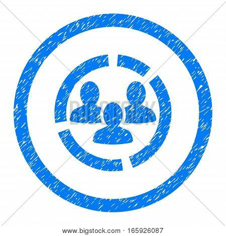 Rounded Demography Diagram rubber seal stamp watermark. Icon symbol inside circle with grunge design and scratched texture. Unclean vector blue sign.