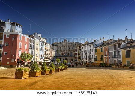 CUENCA, SPAIN - JULY 15, 2016: Cuenca (Castilla-La Mancha Spain) square of the cathedral with people
