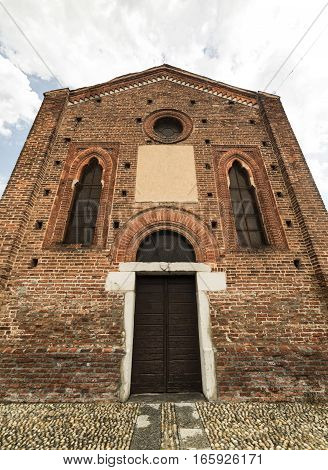 Little gothic church of Annunziata in Cislago (Varese Lombardy Italy) facade