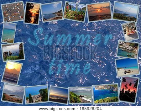 frame of the panoramic photos of the sea on blue water background with the inscription