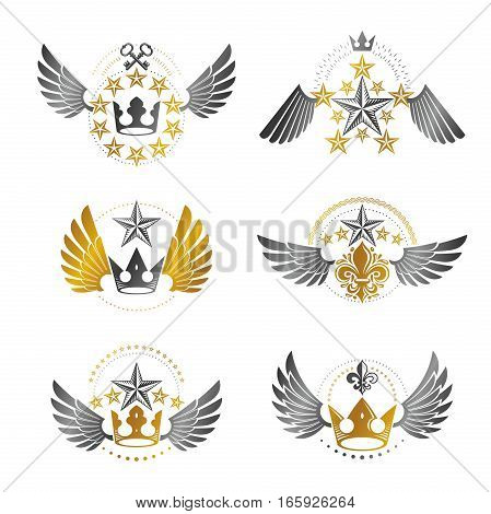 Royal Crowns And Vintage Stars Emblems Set. Heraldic Vector Design Elements Collection. Retro Style