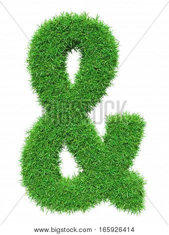 Green grass ampersand, isolated on white background. 3D illustration