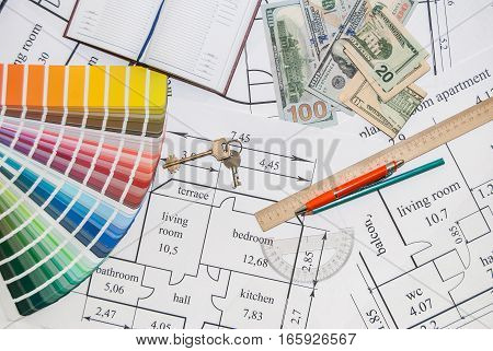 architectural drawings palette of colors designs drawing tools
