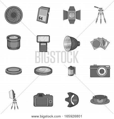 Photo studio icons set in monochrome style isolated on white background