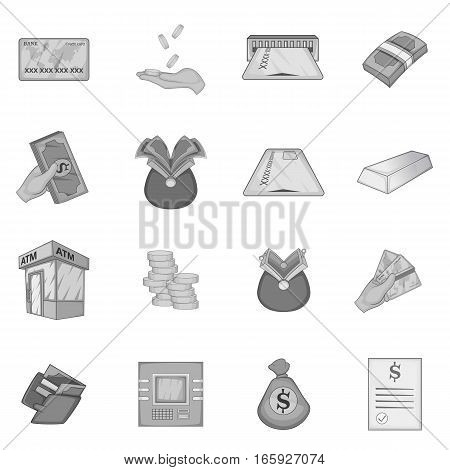 Bank loan credit icons set in monochrome style isolated on white background
