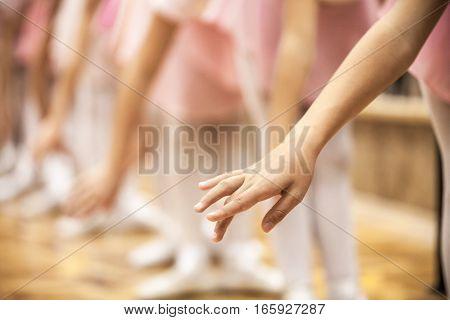 Closeup of Young Ballet Dancers in a Ballet School