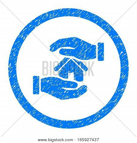 Rounded Realty Insurance Hands rubber seal stamp watermark. Icon symbol inside circle with grunge design and dirty texture. Unclean vector blue sign.
