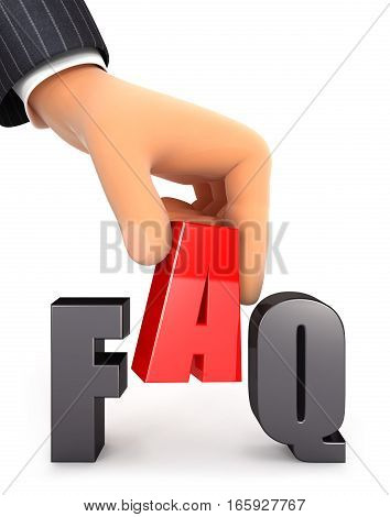 3d hand and word FAQ concept illustration with isolated white background