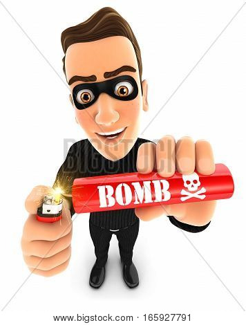 3d thief lighting a stick of dynamite illustration with isolated white background