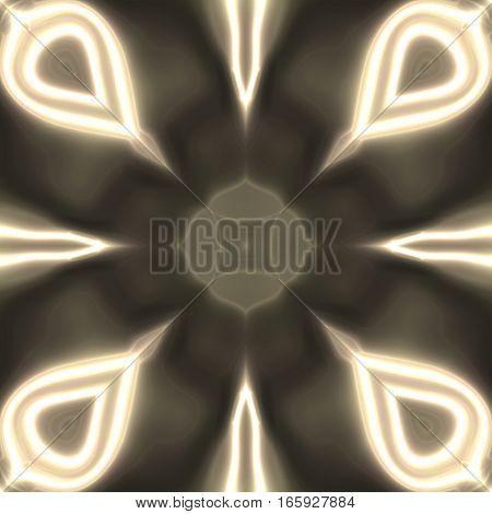 Unique beige glowing ornamental symmetry tile design
