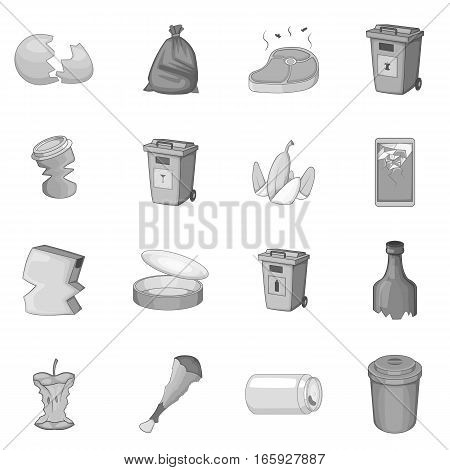 Garbage items icons set in monochrome style isolated on white background