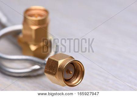 Metal Coaxial Connectors Closeup with Selective Focus