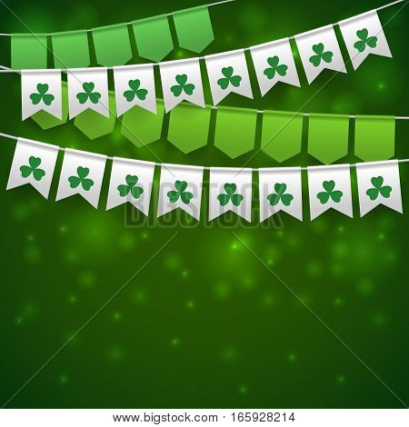 Happy Saint Patrick's Day Backdrop With Garlands.