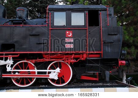 ESKISEHIR, TURKEY - OCTOBER 30, 2010 : Authentic steam locomotive displayed at the Eskisehir Central Station, Railway Museum.