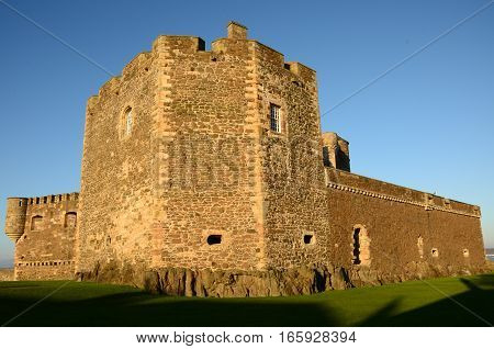 An external view of a defensive turret at Blackness castle