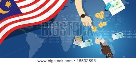 Malaysia economy financial hand holding money transaction map south east asia investment banking cash concept
