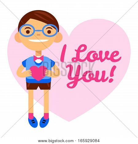bespectacled boy with heart, greetings Happy Valentine's Day. inscription I love you. Cartoon vector flatstyle illustration