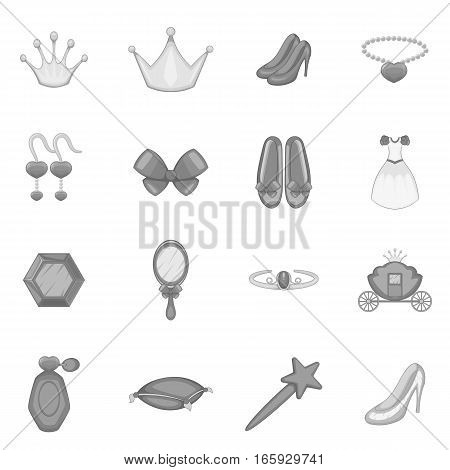 Princess doll icons set in monochrome style isolated on white background