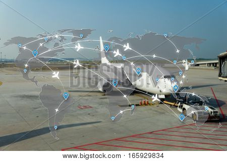 Map of flight routes airplanes network use for global travel importexportlogistics network concept.
