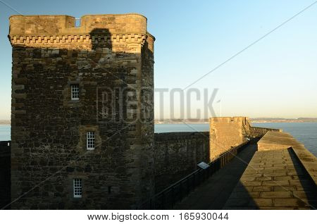 A view along the ramparts at Blackness Castle