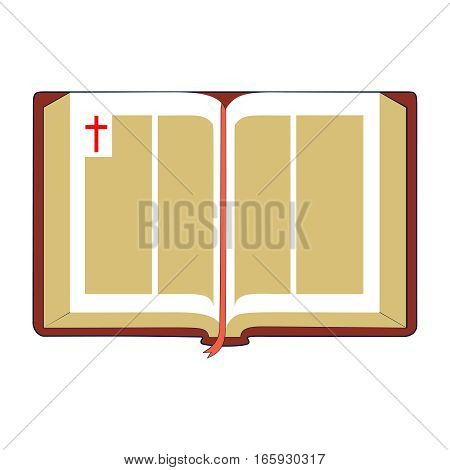 Open Bible with brown cover and red bookmark. Isolated on white background