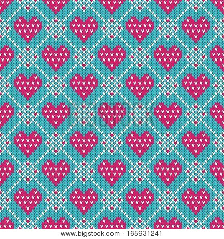 Seamless pattern on the theme of holiday Valentine's Day with an image of the Norwegian and fairisle patterns. Pink hearts on a white background. Wool knitted texture. Vector Illustration