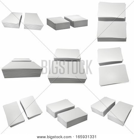 Stack of blank business cards set. 3d render isolated on white background. Name cards as a presentation for promotion of corporate identity