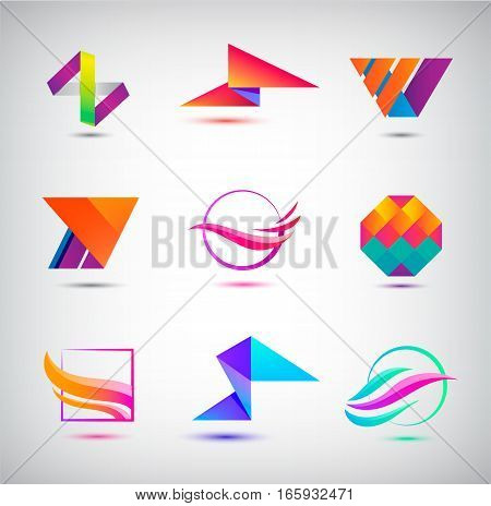 Vector set of abstract logos, icons. minimal elements for business identity. Crystal, origami, sphere, flow