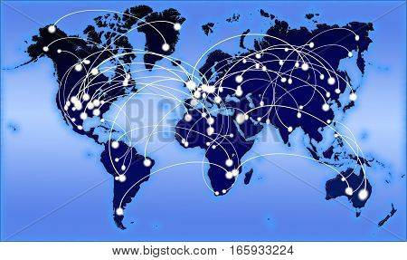 Global communications illustration with data travelling around the world on a map