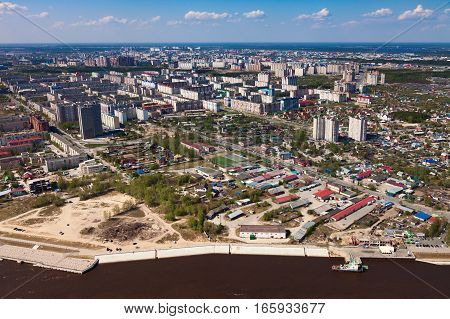 Surgut city Russian center of oil industry aerial view