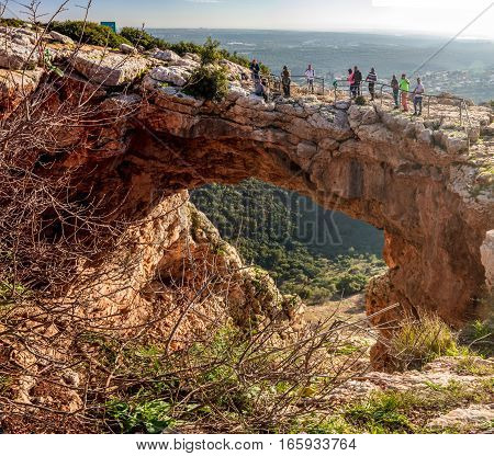 GALILEE ISRAEL - JANUARY 16: Rainbow cave Arch cave or Maarat Keshet in the Upper Galilee Israel on January 16 2016